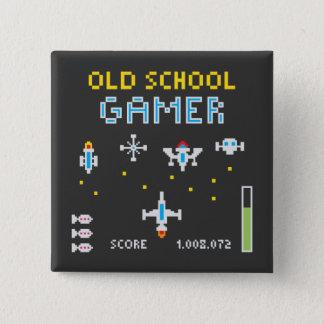 Badge Carré 5 Cm Gamer de vieille école - Stellarship - bouton