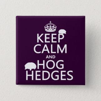 Badge Carré 5 Cm Gardez le calme et accaparez les haies (hérissons)