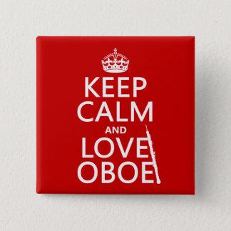 Badge Carré 5 Cm Gardez le calme et aimez le hautbois (toute