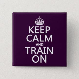 Badge Carré 5 Cm Gardez le calme et exercez-vous sur (la couleur
