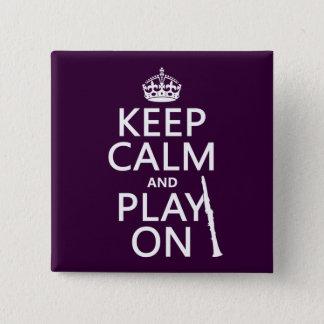 Badge Carré 5 Cm Gardez le calme et le jeu sur (clarinette) (toute