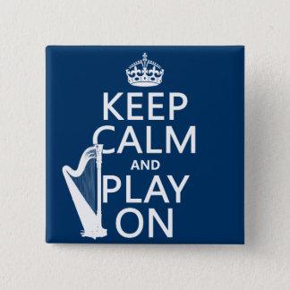 Badge Carré 5 Cm Gardez le calme et le jeu sur (harpe) (toute