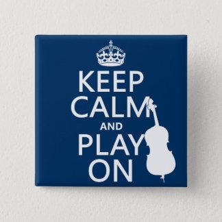 Badge Carré 5 Cm Gardez le calme et le jeu sur (la double basse)