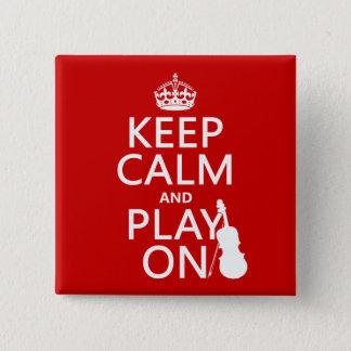 Badge Carré 5 Cm Gardez le calme et le jeu sur (violon) (toute