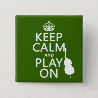 Badge Carré 5 Cm Gardez le calme et le jeu sur (violoncelle) (toute