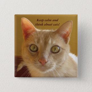 Badge Carré 5 Cm Gardez le calme et pensez aux chats !