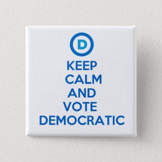Badge Carré 5 Cm Gardez le calme et votez Democratic