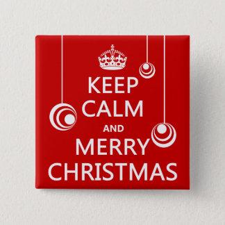 Badge Carré 5 Cm Gardez le Noël calme et Joyeux