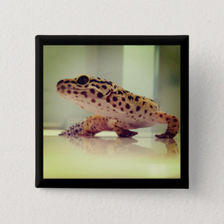 Badge Carré 5 Cm Gecko de léopard