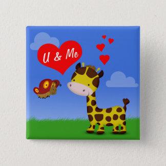 Badge Carré 5 Cm Girafe et papillon dans l'amour - bouton