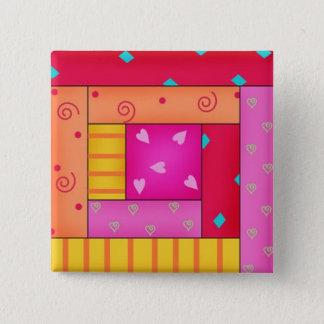 Badge Carré 5 Cm Goupilles colorées d'art de bloc de cabine de