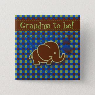 Badge Carré 5 Cm Grand-maman bleu-foncé et de Brown de bébé de