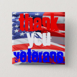 Badge Carré 5 Cm Gratitude de respect d'amour de vétérans de Merci