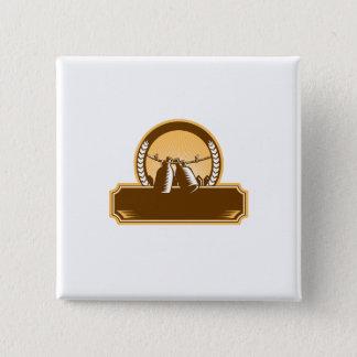 Badge Carré 5 Cm Gravure sur bois en cercle de clôture de corde à