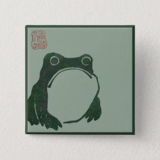 Badge Carré 5 Cm Grenouille japonaise d'ukiyo d'art