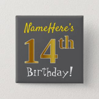Badge Carré 5 Cm Gris, anniversaire d'or de Faux 14ème, avec le nom