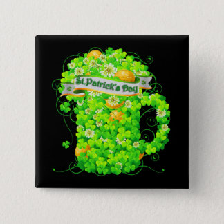 Badge Carré 5 Cm Grog de shamrock du jour de St Patrick