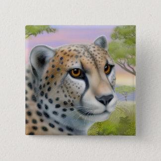 Badge Carré 5 Cm Guépard dans le Pin de l'Afrique