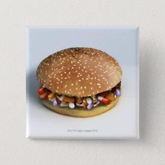 Badge Carré 5 Cm Hamburger de pilule