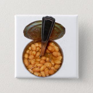 Badge Carré 5 Cm Haricots cuits au four dans la boîte en fer blanc