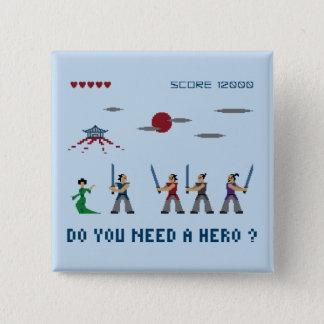 Badge Carré 5 Cm Héros de samouraïs de pixel