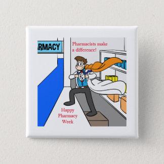 Badge Carré 5 Cm Héros de semaine de pharmacie