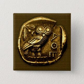 Badge Carré 5 Cm Hibou sur la pièce de monnaie du grec ancien