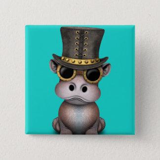 Badge Carré 5 Cm Hippopotame de bébé de Steampunk