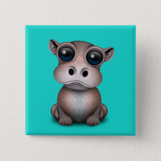 Badge Carré 5 Cm Hippopotame mignon de bébé
