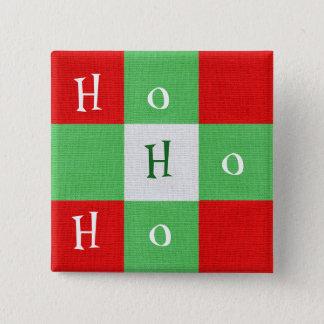 Badge Carré 5 Cm Ho Ho Ho bouton mignon de carré de plaid de Noël