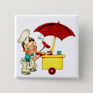 Badge Carré 5 Cm Homme vintage de chariot de hot-dog de hot-dogs de