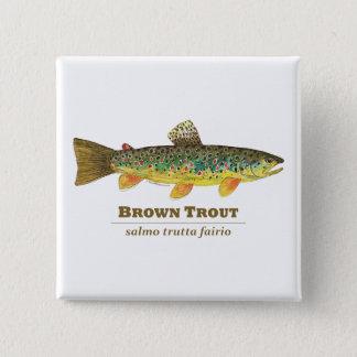 Badge Carré 5 Cm Ichtyologie de latin de truite de Brown