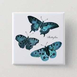 Badge Carré 5 Cm Illustration bleue turquoise vintage de papillon -