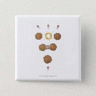 Badge Carré 5 Cm Illustration de neutron frappant Uranium-235