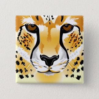 Badge Carré 5 Cm illustration en gros plan principale de guépard