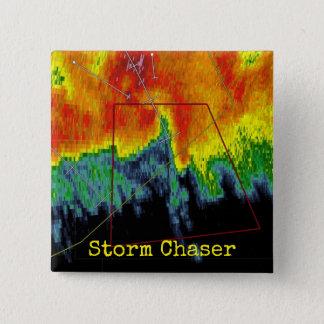 Badge Carré 5 Cm Image de radar de chasseur de tempête