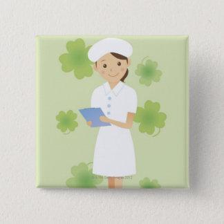 Badge Carré 5 Cm Infirmière