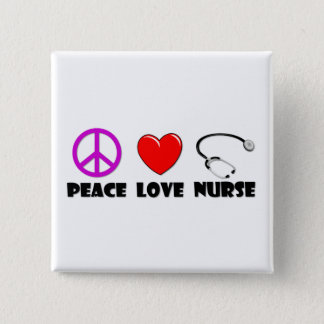 Badge Carré 5 Cm Infirmière d'amour de paix