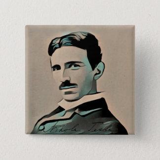 Badge Carré 5 Cm Insigne de Nikola Tesla