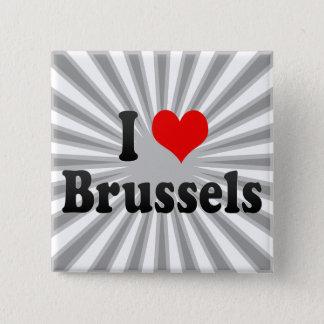 Badge Carré 5 Cm J'aime Bruxelles, Belgique
