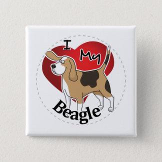 Badge Carré 5 Cm J'aime mon chien drôle et mignon adorable heureux
