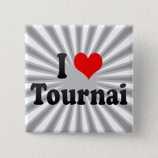 Badge Carré 5 Cm J'aime Tournai, Belgique