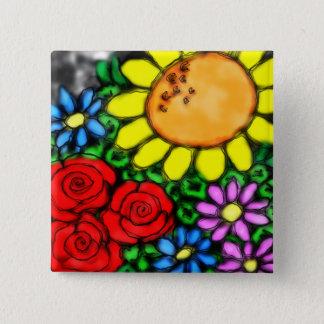 Badge Carré 5 Cm Jardin vif d'aquarelle de tournesol et de roses