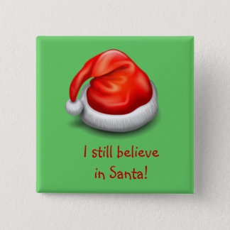 Badge Carré 5 Cm Je crois toujours au bouton de Père Noël