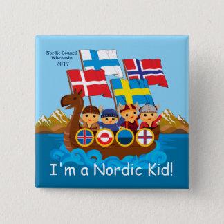 Badge Carré 5 Cm Je suis un bouton nordique d'enfant