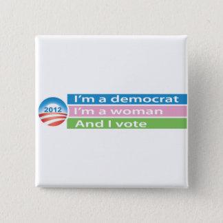 Badge Carré 5 Cm Je suis une femme et je vote !