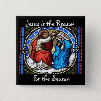Badge Carré 5 Cm Jésus est le bouton de Noël de raison