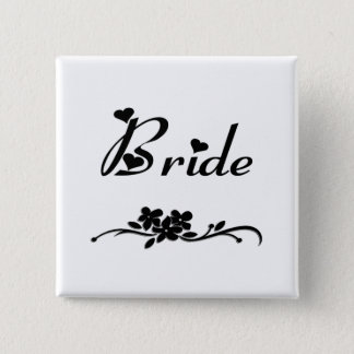 Badge Carré 5 Cm Jeune mariée classique