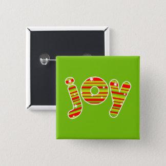 Badge Carré 5 Cm JOIE aux rayures de Noël, rouges et vertes