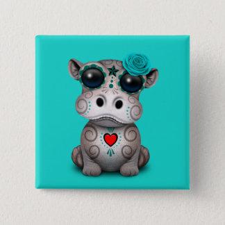 Badge Carré 5 Cm Jour bleu de l'hippopotame mort de bébé